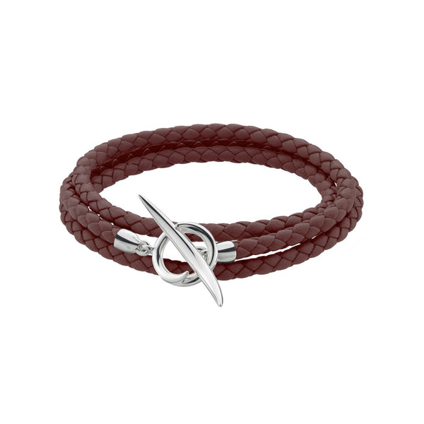 Silver Quill Brown Leather Wrap Bracelet