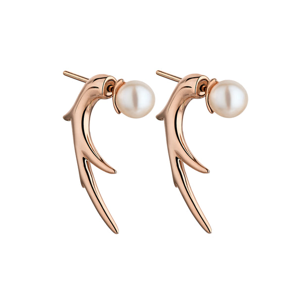 Rose Gold Vermeil Cherry Blossom Pearl Talon Earrings