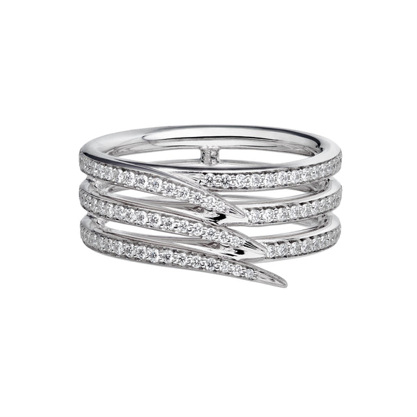 18ct White Gold Diamond Triple Row Pave Armis Ring