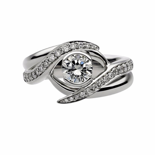White Gold 0.50ct Interlocking Solitaire Ring Set