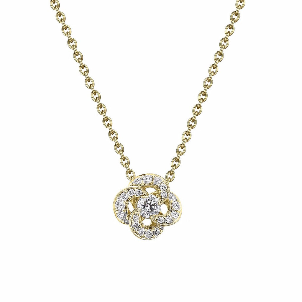 Yellow Gold and Diamond Pave Entwined Petal Pendant