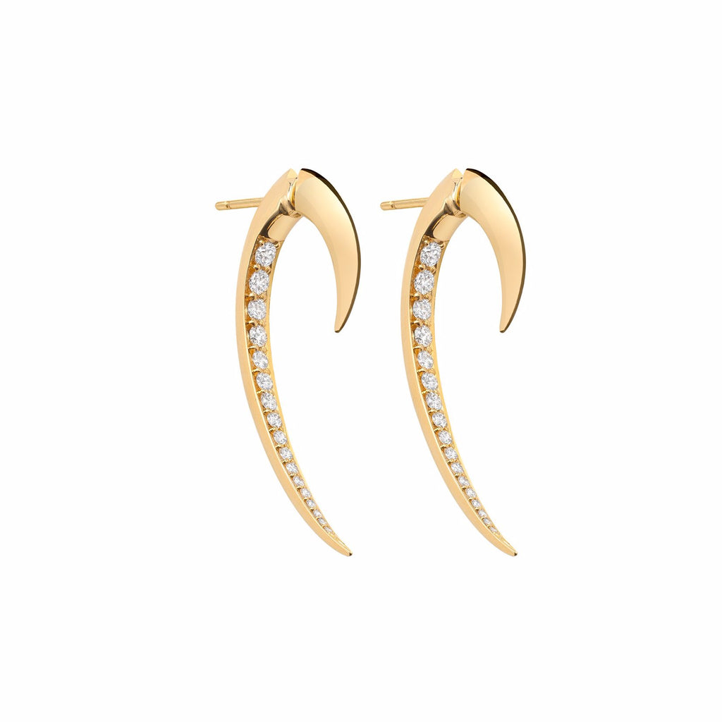 Yellow Gold and Diamond Hook Earrings Size 1