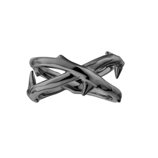 Silver Black Rhodium Rose Thorn Wide Band Ring
