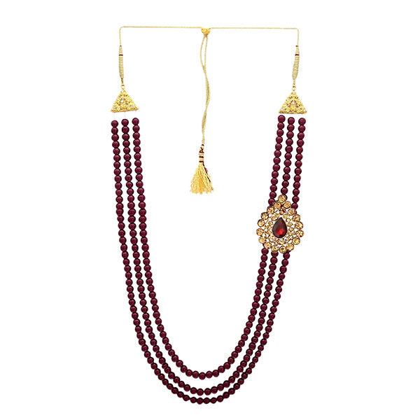 Kriaa Maroon Beads Austrian Stone Mens Necklace - 1103659A