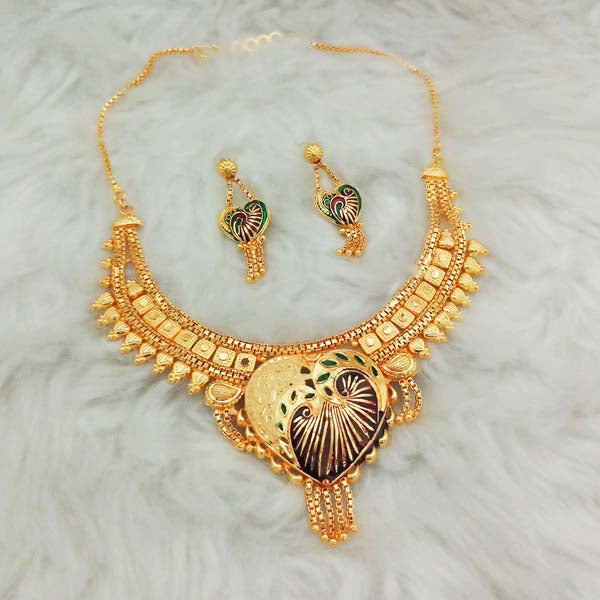 Kalyani Meenakari Brass Forming Necklace Set
