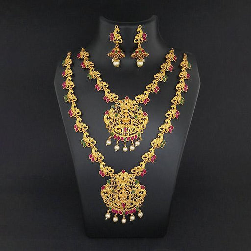 Kriaa Maroon Stone Double Gold Plated Necklace Set - 1113723