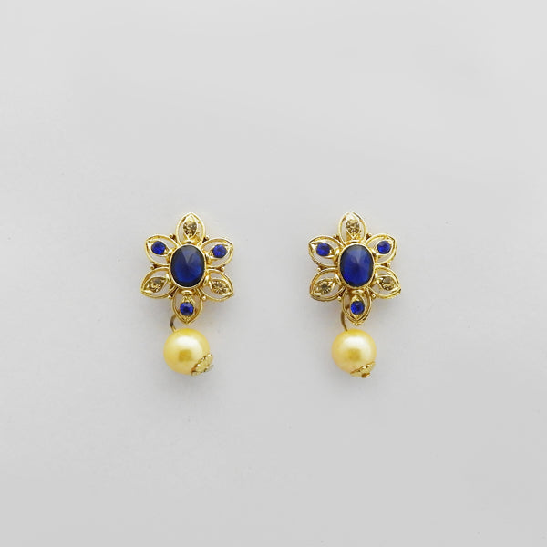 Kriaa Gold Plated Blue Austrian Stone Stud Earrings