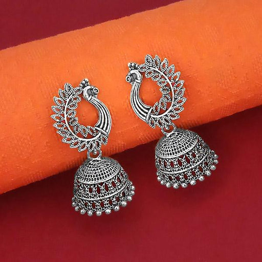 Jeweljunk Peacock Design Oxidised Jhumki Earrings - 1315064