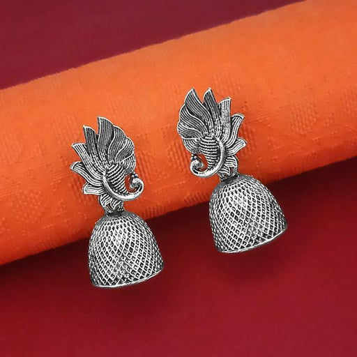 Jeweljunk Oxidised Plated Jhumki Earrings - 1315065
