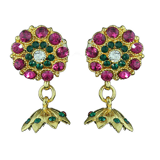 Kriaa Gold Plated Purple Green Austrian Stone Earrings