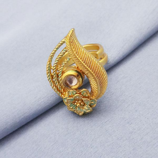 Kriaa AD Kundan Adjustable Copper Ring