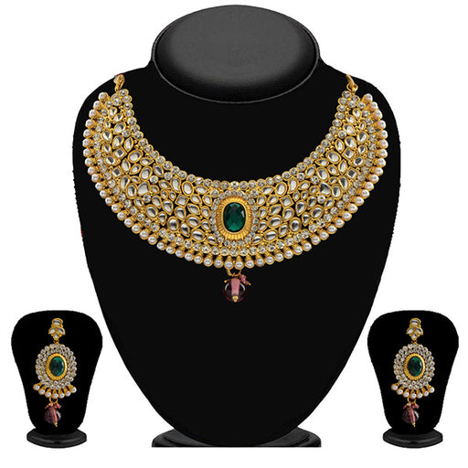 Soha Fashion Gold Plated Kundan Stone Necklace Set
