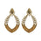 Kriaa Antique Gold Plated Brown Austrian Stone Dangler Earrings