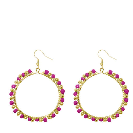 Urthn Pink Beads Gold Plated Round Shaped Dangler Earring