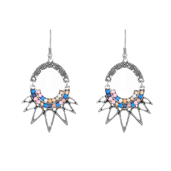 Urthn Multicolor Stone Rhodium Plated Dangler Earrings