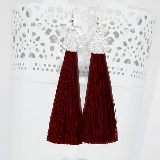Jeweljunk Silver Plated Maroon Thread Earrings