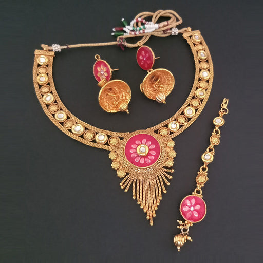 Sai Raj Pink Meenakati AD Stone Necklace Set With Maang Tikka