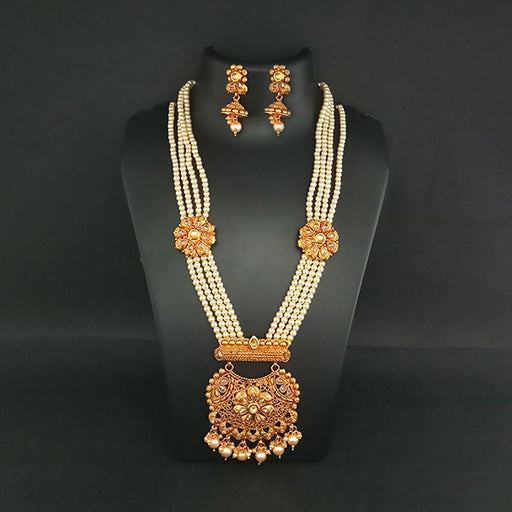 Ganpati Arts AD Stone Pearl Copper Necklace Set