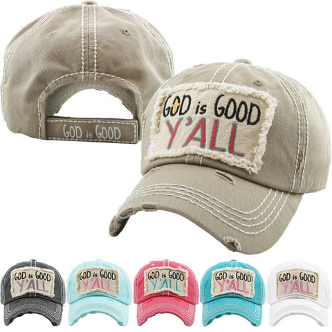 """God Is Good Y'All"" Washed Vintage Distressed Ball Cap"