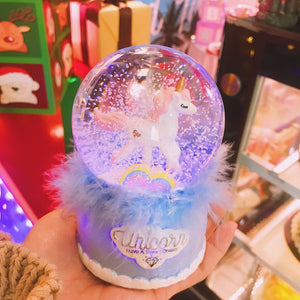 Snowflake Unicorn Crystal Ball Music Box