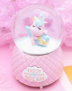 Unicorn fantasy snow crystal ball box