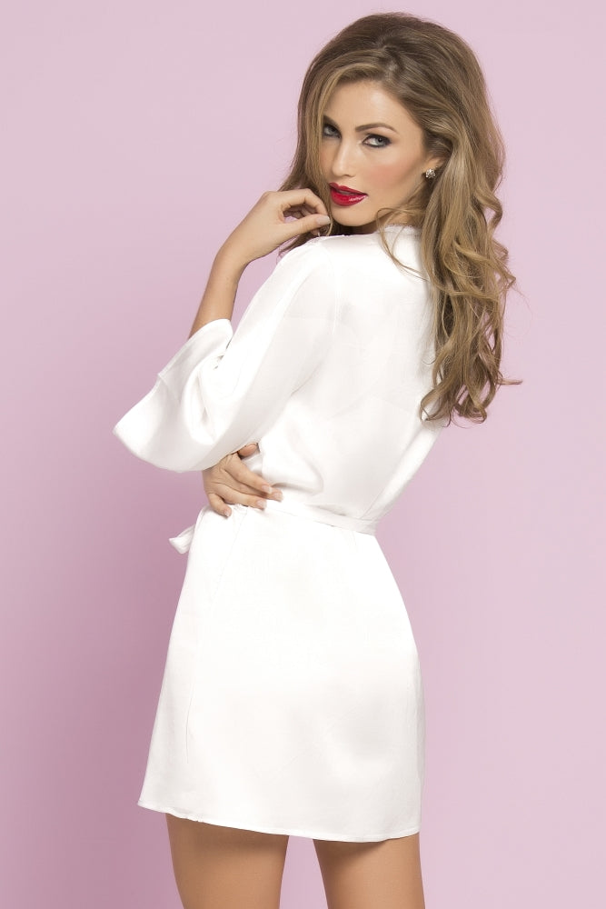 White Satin and Eyelash Lace Robe