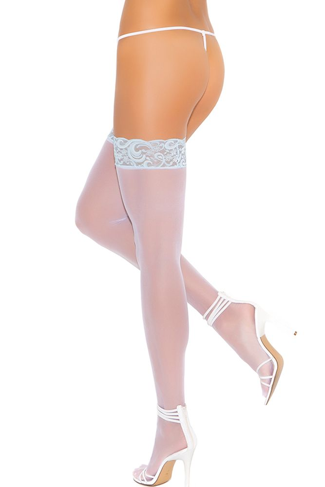 Sky Blue Lace Top White Sheer Thigh Highs