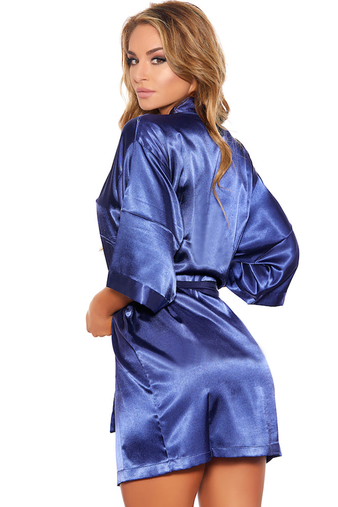 Satin Fever Navy Robe