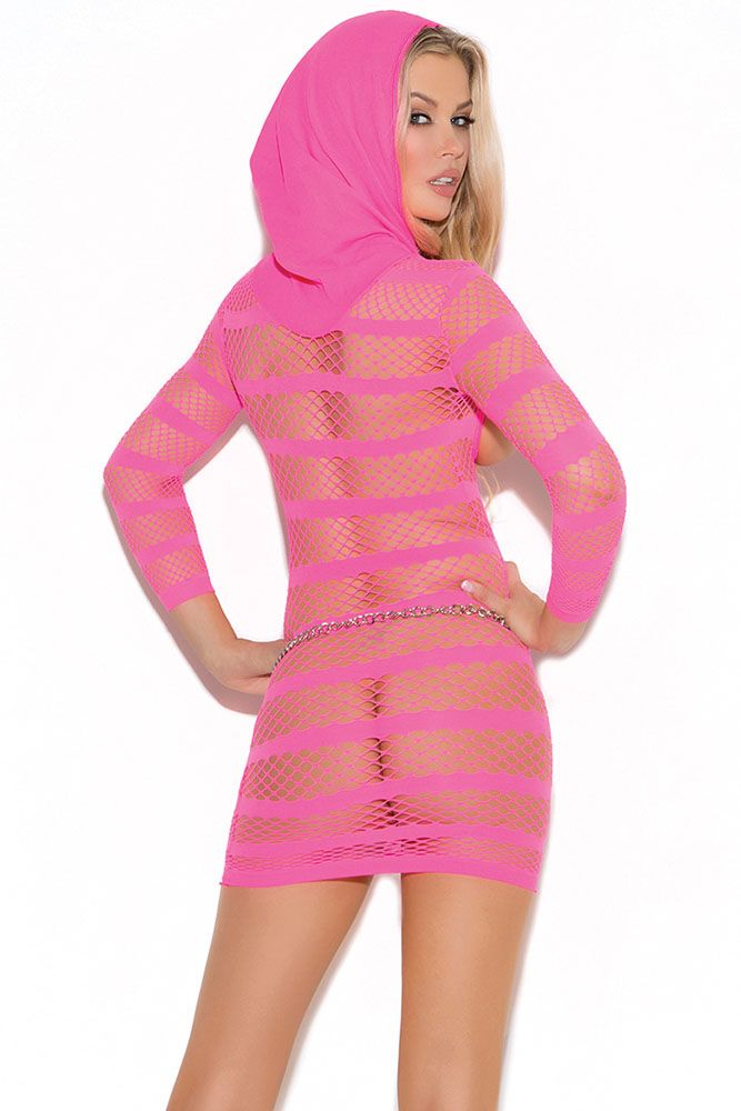 Hot Pink Cupless Hooded Mini Dress
