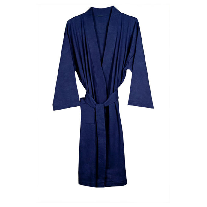 Organic Cotton Knitted Bathrobe - Navy