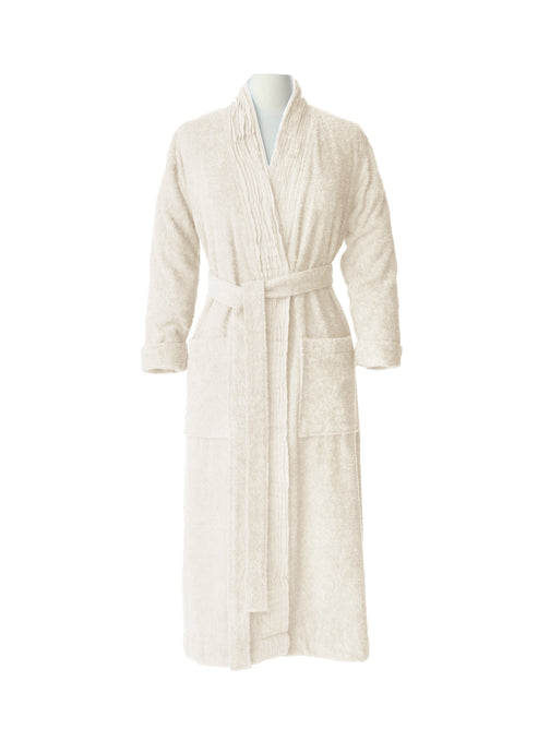 Pleated Terry Bathrobe - Ivory