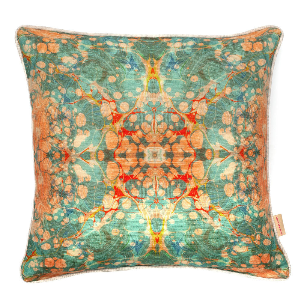 Fantasy Tapestry Kaleidoscope Marbled Linen Square Cushion