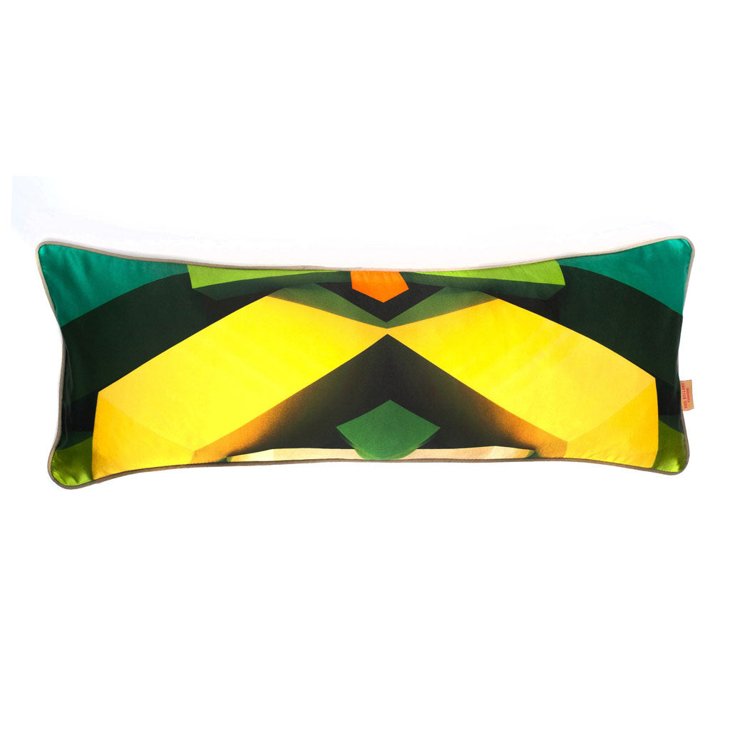 Green Blocks Kaleidoscope Long Oblong Silk Cotton Cushion