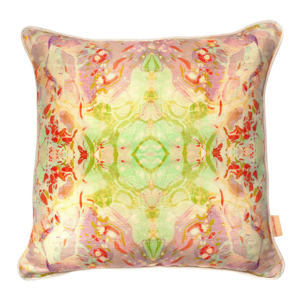Indian Summer Kaleidoscope Marbled Linen Square Cushion