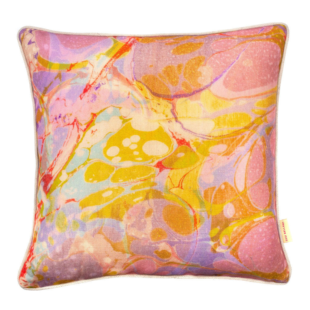 Lavender Tapestry Marbled Linen Square Cushion