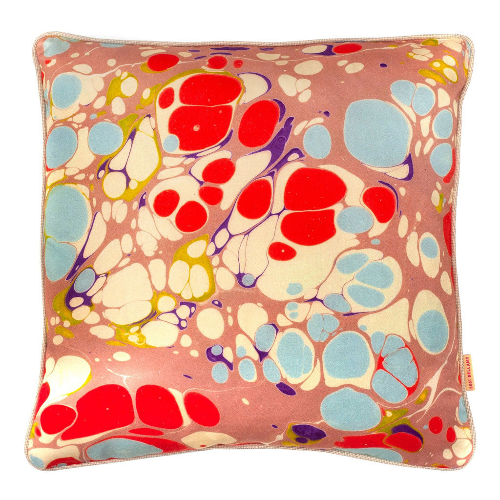 Pink Blue Blobby Marbled Cotton Square Cushion