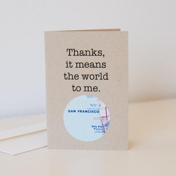 Thanks it means the world to me map card by Granny Panty Designs
