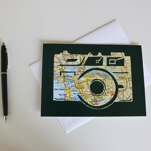 Photography Lover Greeting Card - Map Art by Granny Panty Designs