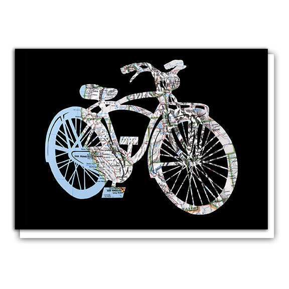 United States bicycle map art card by Granny Panty Designs