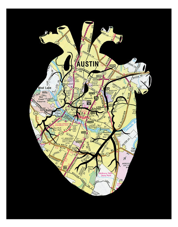 Austin Texas anatomical heart print red