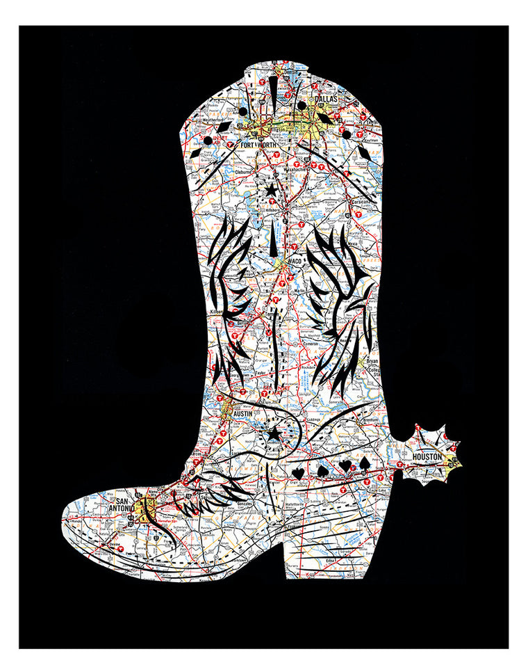 Texas map art cowboy boot poster