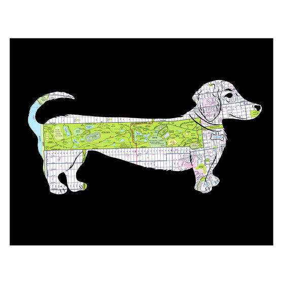 Golden Gate Park map art weiner dog daschund poster