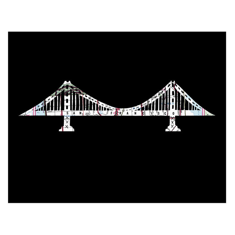 San Francisco Golden Gate Bridge map art print by Granny Panty Designs
