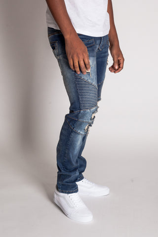 Destroyed Moto Jeans w/ Zipper (Tinted Dark Blue)