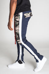 Camoblocked Track Pants with Ankled Zippers (Cobalt)