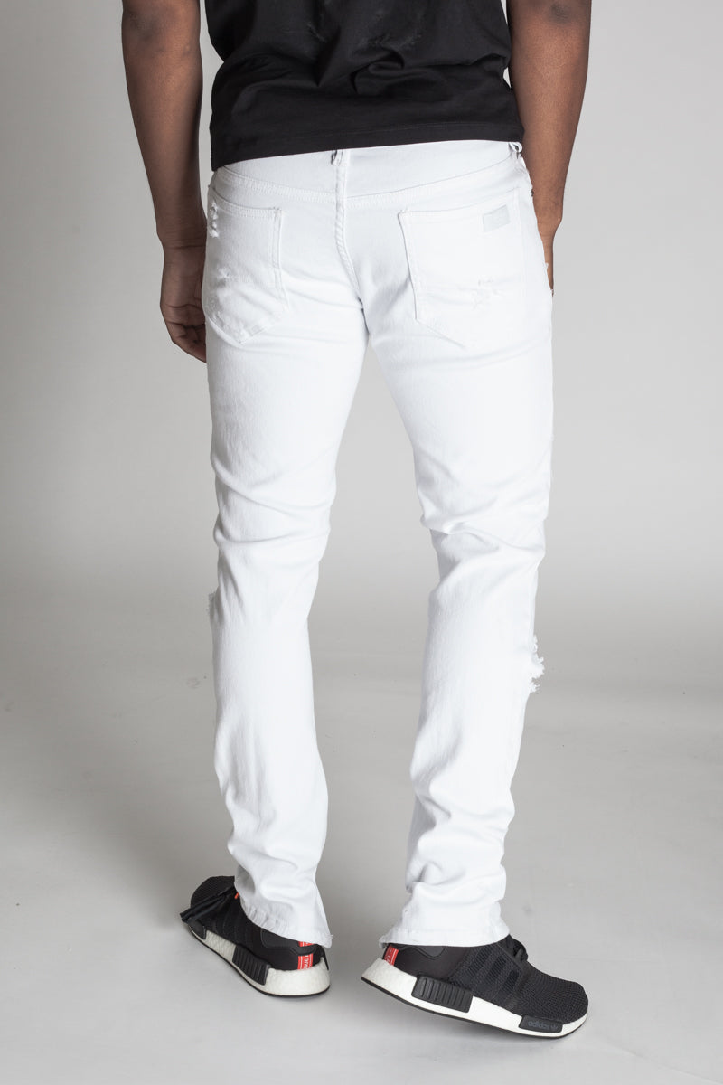 Distressed Ankle Zip Pants (White)