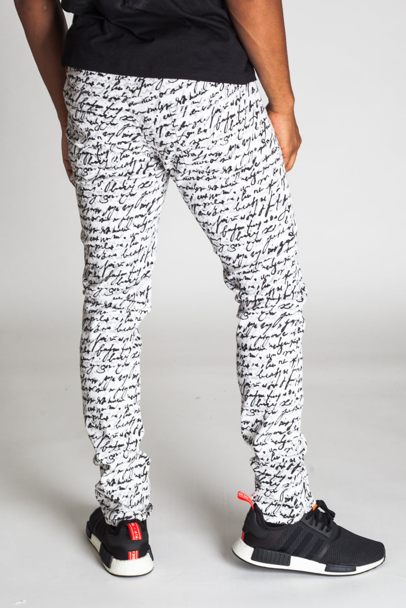 5-Pocket Scribble Pants (White)