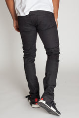 Raw Denim Ankle Zip Jeans (Black)