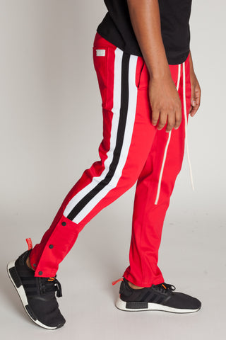 Snap Joggers with Stripes (Red)