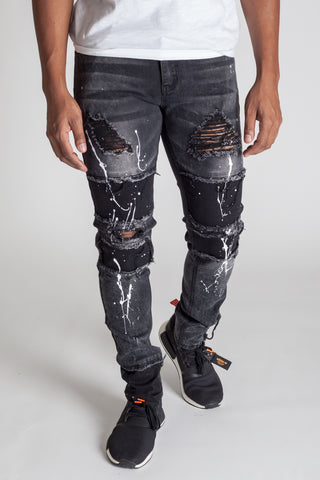 Denim Square Patch Jeans (Dark Medium Grey)